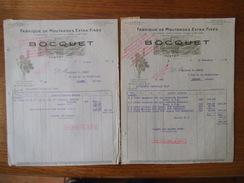 YVETOT  BOCQUET FABRIQUE DE MOUTARDES EXTRA-FINES VINAIGRES CONDIMENTS FACTURES DES 8 MARS ET 23 NOVEMBRE 1939 - France