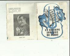Carte Depliante 4  Pages Du  Groupe Lyrique De Paris   Saison 1951 -Voir Scan Details - Opéra