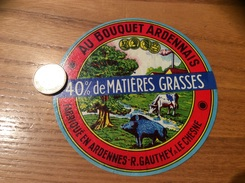 Etiquette Fromage «AU BOUQUET ARDENNAIS R.GAUTHEY LE CHESNE» (vache, Sanglier) - Fromage