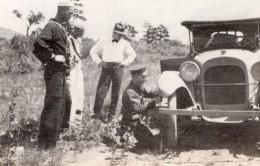 USA Hommes Et Automobile En Panne Crevaison Ancienne Photo Amateur 1910's - Cars
