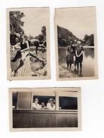 USA Groupe Au Pique-nique SMTN Smoky Mountain Railroad? 3 Anciennes Photos Amateur 1916 - Trains