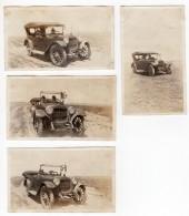 USA Vieux Tacot Automobile Ford? Sur Route Deserte Drapeau Americain 4 Anciennes Photos Amateur 1920 - Cars