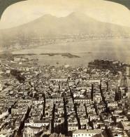 Italie Naples Et Le Vesuve Volcan Panorama Ancienne Photo Stereo Underwood 1900 - Stereoscopic