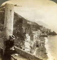 Italie Amalfi Panorama Ancienne Photo Stereo Underwood 1900 - Stereoscopic