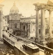 Italie Rome Roma Forum Temple De Saturne Ancienne Photo Stereo Underwood 1900 - Photos Stéréoscopiques