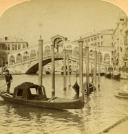 Italie Venise Grand Canal & Pont Rialto Ancienne Photo Stereo Underwood 1900 - Stereoscopic