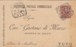 Atina. 1899. Annullo Tondo Riquadrato ATINA (CASERTA), Su Cartolina Postale - 1878-00 Umberto I