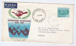 1965 Air Mail Armadale AUSTRALIA FDC 2/3 International Cooperation Year To GB  Un United Nations Airmail Label Cover - Primo Giorno D'emissione (FDC)