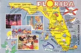 Postcard Map Of Florida USA PU Orlando 1989 My Ref B22052 - Maps