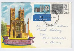 1966 GB FDC Westminster Abbey To NEW HEBRIDES W PACIFIC Religion Church Cover Stamps - FDC