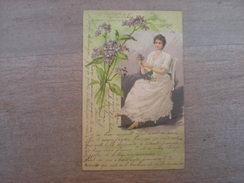 Femme Faisant Un Bouquet De Fleurs, 1902, Timbre (C3) - Illustrators & Photographers