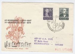 1958 POLAND FDC Music MONIUSKO, Wyspianski Art  With CHZ WARSZAWA METER SLOGAN On The Back Cover - Music