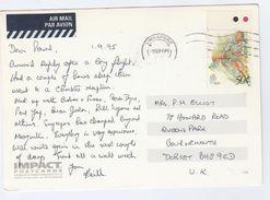 1995 SINGAPORE COVER Stamps BADMINTON Sport (postcard, Singapore Causeway Road) To GB Airmail Label - Badminton