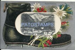 81609 SWITZERLAND INTERLAKEN ART EMBOSSED AND VIEW PARTIAL POSTAL POSTCARD - Unclassified