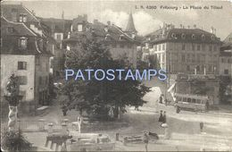 81613 SWITZERLAND FRIBOURG THE SQUARE OF TILLEUL POSTAL POSTCARD - Suisse