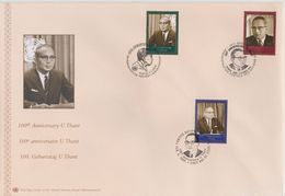 United Nations Cancellations Vienna, Geneva And NY - 2009 - FDC Centenary Of Birth Of Sithu U Thant - Gezamelijke Uitgaven New York/Genève/Wenen