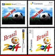 Ref. BR-3258-CUP BRAZIL 2014 FOOTBALL-SOCCER, WORLD CUP CHAMPIONSHIP, 2014, 4 STAMP PERSONALIZED, MNH 4V Sc# 3258+3258A - Brazil