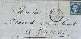 1857- Lettre De Paris Bureau H  Affr. N° 14  Avec Très Grand Bord De Feuille Sans La Ligne Bleue - 1849-1876: Période Classique