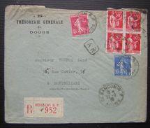 Besançon (Doubs) 1938 Recommandé De La Trésorerie Générale Pour Montbéliard - Marcophilie (Lettres)