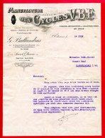 """FACTURE (Réf : B 503) """"Documents Commerciaux"""" MANUFACTURE DES CYCLES V.B.E St-ETIENNE - Frankrijk"""
