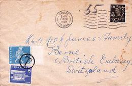 Lettre Bangor Beannchar County Down Irlande Du Nord Northern Irland British Ambassy Berne Switzerland Suisse Taxe - 1952-.... (Elizabeth II)
