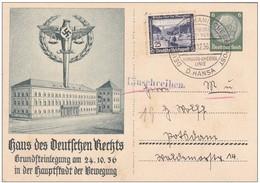 1936 - WW2 - 2e Guerre Mondiale - Entier CP Reco Avec Complément Vers Southampton, Grande Bretagne - Maritime - Allemagne