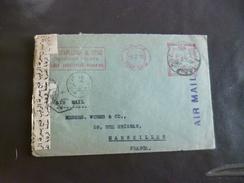 Lettre Egypte Port Saïd Censure En Arabe   EMA Rouge Pub Stapledon 9/02/1952 Pour Marseille Rare!!!!!!!!!! - Égypte