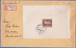 1936 - Envel. Recommandée  Grand Format De Munich-Riem Vers Wiesbaden  - Allemagne Reich -  Bloc B9 , Cad Arrivée - Allemagne