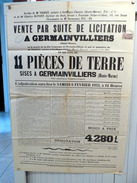 """AFFICHE De 1932  : """" VENTE à GERMAINVILLIERS """"  ( Haute-Marne ) + Timbre Fiscal DIMENSION N° 105 - Posters"""