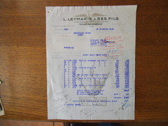 MONT DE MARSAN  L. LEYMARIE & SES FILS FOIES GRAS DES LANDES CONSERVES DE LUXE FACTURE DU 25 NOVEMBRE 1949 - France