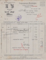 75 17 933 PARIS SEINE 1937 Rachauds Lampes A Souder PRIMUS Ets BLONDEL Rue De Flandre A MASTEAU Outillage BAHCO - France