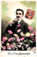 [DC11183] CPA - AUGURALE - UOMO CON FIORI - Viaggiata - Old Postcard - Auguri - Feste