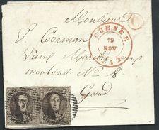 L St.  Affr 10c Brun Margé  P156 ECAUSSINES/1854  + Boîte Rurale H ?  Pour Mons - 1851-1857 Medaillons (6/8)