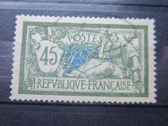 VEND BEAU TIMBRE DE FRANCE N° 143 , VERT CLAIR - BLEU FONCE , X !!! - 1900-27 Merson