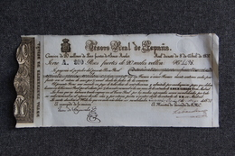 RARE - BILLETTE CARLISTA 1837 , CARLOS V ,El Pretendiente, TESORO DE ESPANA, 200 PESOS Fuertes De 20 Reales Vellon. - Espagne