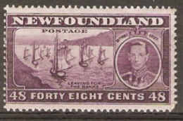 Newfoundland  1937 SG 267 48c  Lightly Mounted Mint - 1908-1947