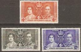 Straits Settlement  1937  SG  275-7  Coronation  Mounted Mint - Straits Settlements