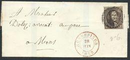 L Affr 10c Brun Margé  P158  ECAUSSINES/1852  Pour Mons - 1851-1857 Médaillons (6/8)