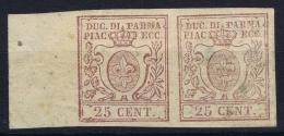 Italy:  Parma Sa 10 Mi 10,  1852 2x MH/*  Signed/ Signé/signiert/ Approvato  Sheetmargin - Parma