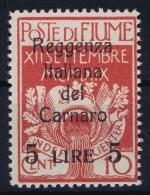 Fiume Reggenza Italiana Del Carnaro Sa 145 Mi 16 MH/* Flz/ Charniere - 8. Occupazione 1a Guerra