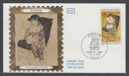 """ENVELOPPE 1ER JOUR DE FRANCE - TABLEAU DE PABLO PICASSO : """"PAUL EN ARLEQUIN"""" (EUROPA 1975 - PARIS - CEF) - Picasso"""