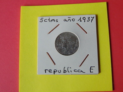 5 Centimos Republica 1937 - [ 2] 1931-1939 : República