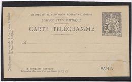 France Pneumatique - Chaplain 30 C Noir - Carte Télégramme - Entiers Postaux