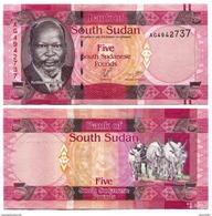 South Sudan 5 Pound4 2015 UNC - Südsudan
