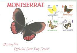 FDC MONSERRAT 1987 - Vlinders