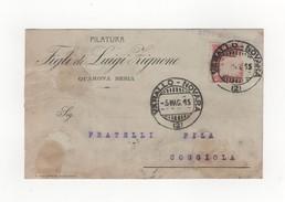 Quarona Sesia Cartolina Commerciale Filatura Luigi Zignone 1915 - Vercelli