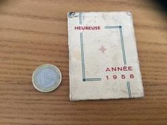 Calendrier 1958 (12 Pages) « HEUREUSE ANNÉE / Location Vente Machines à Laver M. Gillet LA ROSSIGNOLETTE (17) » Bleu - Calendriers
