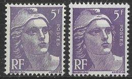 France - 1951 - Variété - Marianne De Gandon 5 F. Violet Normal + 5 F. Violet Vif- Y&T N° 883 **  Neuf Luxe TB - Variétés Et Curiosités
