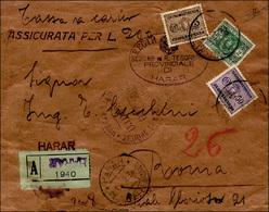 3384 1938 - Busta Assicurata Non Affrancata Da Harar 15/2/1938 A Roma, Tassata Con Segnatasse Da 5 Cent.,... - Somalie