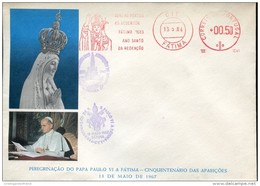 14983 Portugal, Red Meter Freistempel EMA, Fatima 1983 Peregrinacao Papa Paulo A Fatima,50th Anniv.appearances - Machine Stamps (ATM)